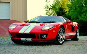 Картинка red, ford, garage, gt