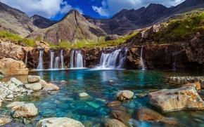Картинка потоки, небо, озеро, горы, камни