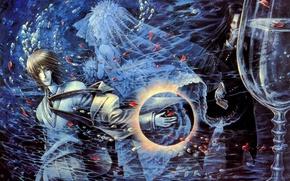 Картинка призрак, водоворот, art, заклинатель, Trinity Blood, черная магия, кровь триединства, Dietrich von Lohengrin, Isaak Fernand …
