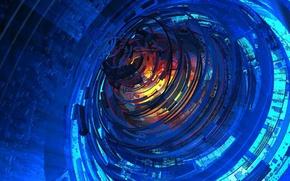 Картинка свет, линии, цвет, тоннель, объем