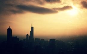Обои закат, город, вечер, City, мегаполис, строения, wallpapers, сздания