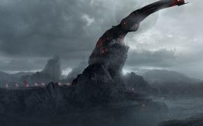 Картинка туман, скалы, мрак, сооружение