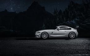 Картинка car, горы, ночь, white, bmw Z4M