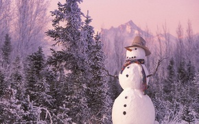 Обои снеговик, новый год, лес, зима