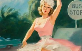 Картинка взгляд, девушка, молодость, красота, удивление, пин ап, художественный, Pin up, автомобиль.