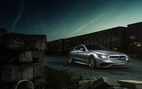 Картинка Mercedes-Benz, Car, AMG, Coupe, Train, Wheels, S63, ADV.1, 2015
