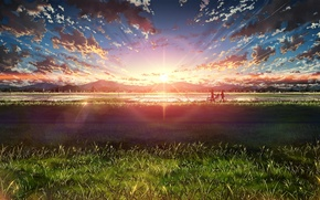 Обои велосипед, арт, природа, люди, аниме, bokuden, облака, солнце, небо, пейзаж, закат