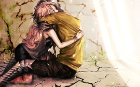 Картинка девушка, свет, любовь, трещины, стены, растения, арт, пол, парень, обьятия, genki-de