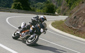 Картинка дорога, мотоцикл, шлем, KTM, 990, Supermoto, SMT