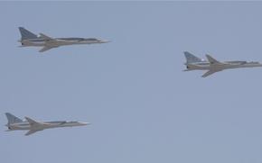 Картинка небо, высота, полёт, бомбардировщик, sky, bomber, ракетоносец, flight, Tupolev, Туполев, group, height, сверхзвуковой, дальний, supersonic, ...