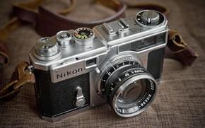 Картинка макро, фон, камера, Nikon