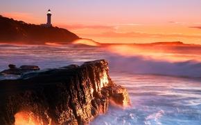 Картинка colors, waves, sky, sea, landscape, coast, nature, sunset, clouds, rocks, evening, Lighthouse