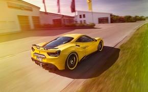 Картинка желтый, тюнинг, Ferrari, автомобиль, феррари, Rosso, Novitec, 488 GTB, новитек