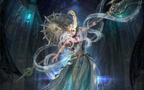 Картинка девушка, платье, трезубец, посейдон, богиня, poseidon