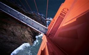 Картинка мост, вид, высота, автомобили
