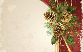 Картинка ленты, праздник, новый год, ель, вектор, декорации, шишки, happy new year, christmas decoration, новогодние обои, …