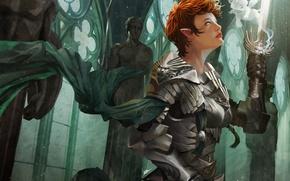 Картинка девушка, эльф, дух, меч, воин, арт, храм, статуя, рыжая, доспех
