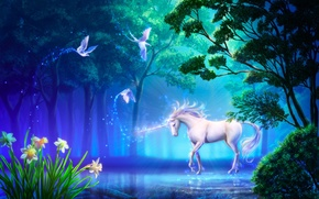 Картинка цветы, единорог, конь, takaki, арт, нарциссы, птицы, озеро, лес