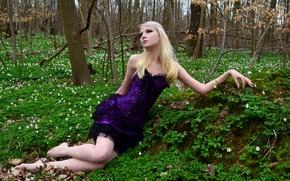 Картинка Girl, Nature, Grass, Beautiful, Model, Tree, Beauty, Blonde, Maria Amanda Schaub, Goth, Artistic