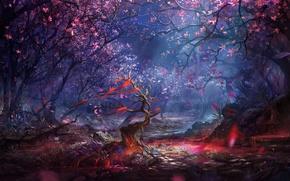 Картинка лес, вишня, камни, кровь, сакура, blood, forest, деревце, stone, wood, ленточки, ribbons, rocks, sakura, cherry, …