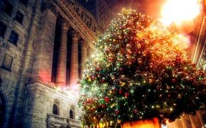 Обои украшения, огни, праздник, здание, елка, новый год, рождество, света