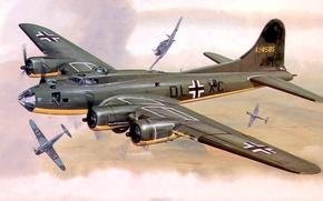 Картинка рисунок, арт, Boeing, тренировочный полёт, B-17, bf-109, Летающая крепость, Flying Fortress, захвачен