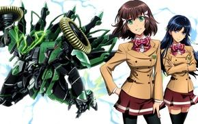 Картинка форма, школьницы, подруги, боевой робот, kakumeiki valvrave, saki rukino, shouko sashinami
