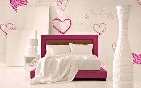 Обои сердечки, кровать, интерьер