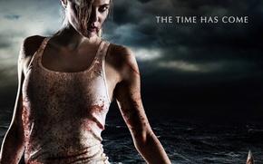 Картинка demon, girl, zombie, blood, biohazard, devil, sea, woman, red eyes, survivor, spanish, evil, film, Apocalypse, …