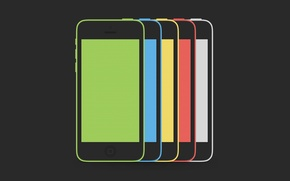 Картинка Smartphone, Red, Yellow, Blue, Green, Hi-Tech, Minimalistic, White, Apple, iPhone, Colors