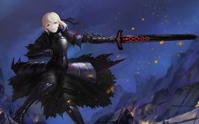 Картинка взгляд, девушка, оружие, меч, доспехи, жест, art, fate/stay night, saber alter