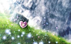 Картинка трава, пень, холм, арт, искры, сердечко, y-k