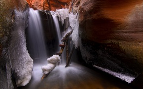 Обои kanarraville, utah, usа, пещера, лестница, лед
