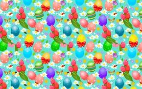 Картинка бабочки, цветы, ромашки, яйца, Пасха, жуки, тюльпаны, банты