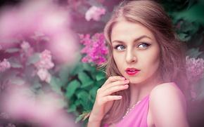 Картинка Pink, Girl, Beautiful, Model, View, Lips, Portrait, Karina, Lilac