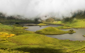 Картинка Природа, Туман, Озеро, Каньон, Португалия, Пейзаж, Island, Corvo