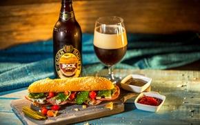 Обои beer, зелень, burger, соус, гамбургер, огурец, пиво, bun