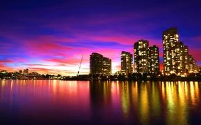 Картинка море, фиолетовый, небо, вода, закат, город, отражение, ванкувер, облак