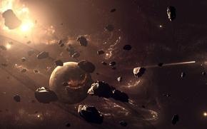 Обои размеры, планеты, метеориты, небосвод