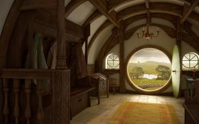 Обои интерьер, властелин колец, арт, lord of the rings, вход, дверь, шир, дом, нора, хоббит, hobbit