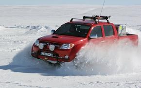 Картинка зима, снег, северный полюс, red, Toyota, north pole, hilux, arctic trucks