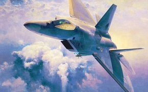 Картинка war, art, airplane, painting, jet, Lockheed F 22 Raptor