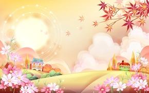 Картинка солнце, цветы, домики