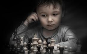 Картинка мальчик, шахматы, фигуры
