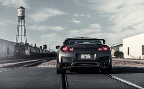 Картинка рельсы, матовый, Nissan, GT-R, black, ниссан, rear