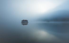 Картинка туман, озеро, утро