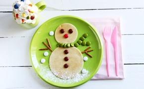 Картинка зима, еда, сливки, тарелка, конфеты, чашка, сладости, снеговик, напиток, десерт