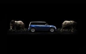 Обои машина, канаты, слоны