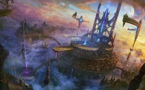 Картинка облака, лучи, город, скалы, корабль, арт, мосты, SHUXING LI, летающий, divinity