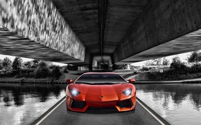 Картинка Lamborghini, Оранжевая, Ламборджини, Orange, Front, Суперкар, LP700-4, Aventador, Передок